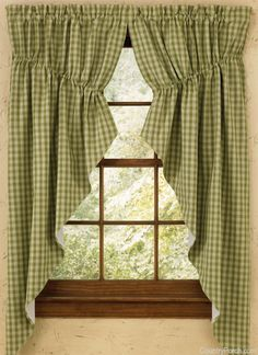 Green Sturbridge Lined Gathered Window Curtain Swags