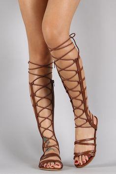 Elasticized Straps Lace Up Open Toe Gladiator Sandal