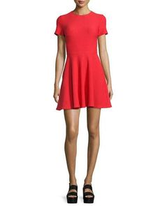 OPENING CEREMONY Short-Sleeve Textured A-Line Dress, Cherry Red. #openingceremony #cloth #