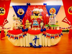 Backdrop & cake table / candy buffet for a Popeye themed 1st birthday party. Design & setup by ParteeBoo - The Party Designers! Nautical Baby Shower Decorations, Nautical Party, Birthday Decorations, Navy Party, 3rd Birthday Party For Boy, Mickey Mouse 1st Birthday, Birthday Party Themes, Birthday Ideas, Sailor Baby Showers