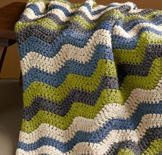 Shaded Ripple Afghan Crochet Kit featuring Lion Brand Wool-Ease Thick and Quick Yarn