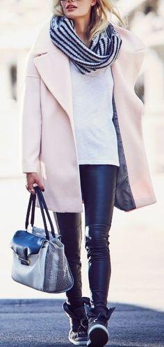 Pastel Calvin Klein coat and leather leggings!
