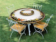 Tavolo vietri ~ Tavolo in pietra lavica ceramizzata decoro corallo rosso tavoli