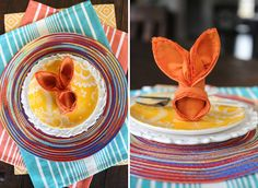 Easter bunny napkin fold for kid's table