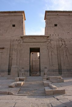 HUMN1101 ( I have a pin of this entrance before the damn was built and this is how it looked after the damn.) Philae Temple, Aswan, Egypt