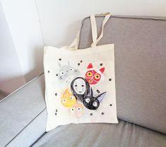 Studio Ghibli hand painted bags series / Miyazaki characters bag / Totoro Tote bag / No Face, Calcifer, Ponyo, Jiji, Mononoke bag - by Matita's Art