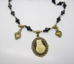 Santa Muerte , Saint Death Cameo Necklace, Day Of The Dead Necklace, Gothic Cameo by freakchicboutique on Etsy