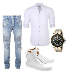 """""""No work day!!!"""" by rossella-castaldo on Polyvore featuring Balmain, Stone Rose, BUSCEMI, Versace, men's fashion and menswear"""