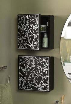 Bathroom storage - make them look like a series of peices of arts/ canvasses but…
