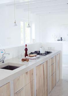 Cozinha, cimento, madeira barefootstyling.com