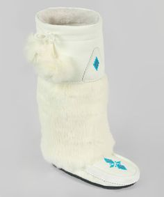 Manitobah Mukluks White Tall Classic Leather & Fur Boot by Manitobah Mukluks Tall Boots, Shoe Boots, Shoes, Winter Wedding Boots, Aboriginal Clothing, Native Beadwork, India, Native American Fashion, Classic Leather