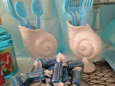 Shell silverware holders at a Mermaid Party #mermaid #party