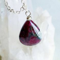 This pendant necklace is made up from sterling silver chain and natural rare and very unique gemstone pendant of amazing russian eudialyte!) This awesome piece is really one of a kind!) Perfect gift for him or her!))  Necklace measures 18.5 inches (470 mm) total. If you have any specification, I will be happy making something especially for you)  Please check dimensions carefully and look at the photograph in which the items are worn, where you can better see the size, the tourmaline stone…