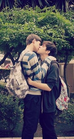 A couple of gays, kiss, sweet