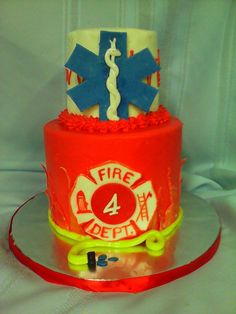 my 4 /6 inch fire department and ambulance cake with swiss butter cream