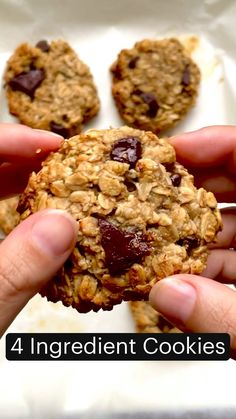 Healthy Cookies, Healthy Sweets, Healthy Baking, Healthy Desserts With Bananas, Healthy Breakfast Cookies, Healthy Snack Recipes, Healthy Chocolate Snacks, Healthy Chocolate Chip Cookies, Fun Baking Recipes