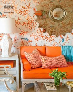 This whole concept amazes me, the orange and turquoise my two favouite colours and the mirror, love!