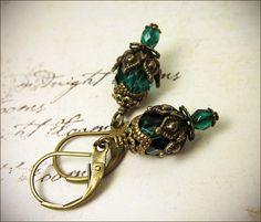 Emerald Green Earrrings Renaissance Jewelry Borgia by AfterDark, $16.00