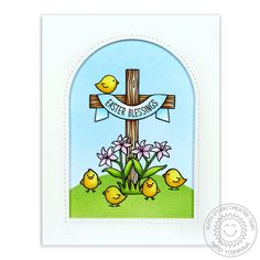 Sunny Studio Stamps: Easter Wishes Cross with Lilies and Chicks Card by Mendi Yoshikawa