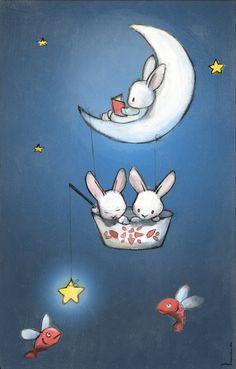 Les lapins dans la lune Art Print by Delphine Doreau