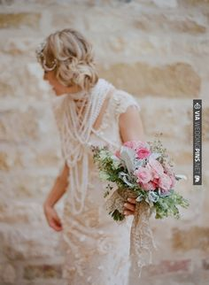 Vera Wang Dress + pearls and that bouquet...wow just wow. (photo by Elizabeth Messina)   CHECK OUT MORE IDEAS AT WEDDINGPINS.NET   #weddings #weddinginspiration #inspirational