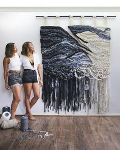 Crossing Threads is the collaborative work of Lauren and Kass Hernandez, Australian-born sisters of Filipino heritage based in Sydney. Weaving Wall Hanging, Wall Hangings, Macrame Design, Tapestry Weaving, Weaving Textiles, Macrame Patterns, Textile Artists, Fiber Art, Hand Weaving