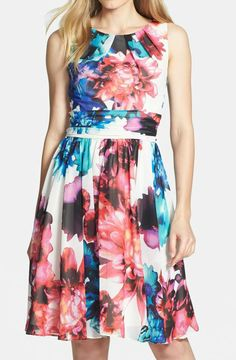 Eliza J Print Chiffon Fit and Flare Dress