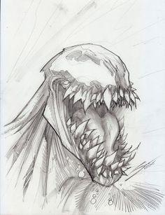 Venom by ma friend Pencil Art Drawings, Cool Art Drawings, Art Drawings Sketches, Drawing Ideas, Venom Comics, Marvel Comics Art, Marvel Venom, Marvel Marvel, Spiderman Drawing