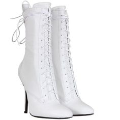 Balmain White Smooth Leather Lace Up Booties ($890) ❤ liked on Polyvore featuring shoes, boots, ankle booties, heels, sapatos, women, lace up heel booties, lace up booties, heel boots and white heel boots