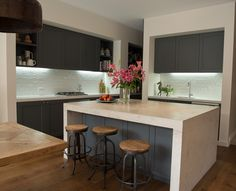 White tiled splashback, painted grey   cabinets