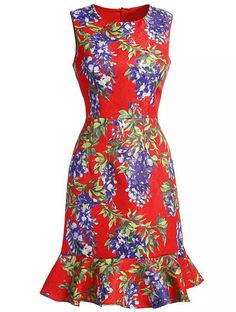 Red Round Neck Sleeveless Floral Print Ruffle Dress 48.99
