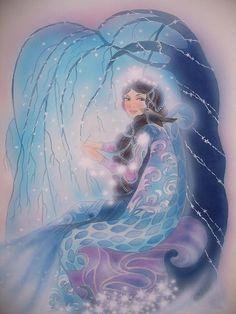 Wenn die Winterkönigin mit Raureif Schneeflocken häckelt dann wird bald und viel der Schnee übers Land ziehen... aus meinem Märchenbuch von Christl Vogl