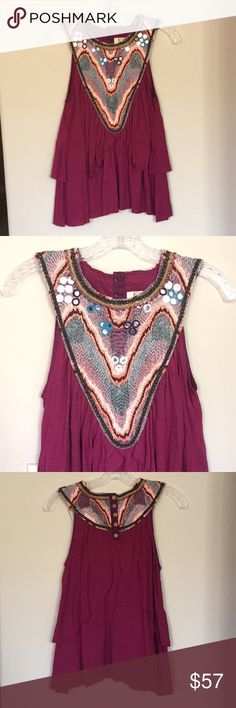 Pink Free People Top Super pretty pink embellished Free People top. Brand new, never been worn. This top is in great and clean condition! Free People Tops
