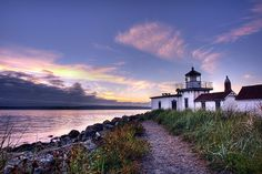 West Point Lighthouse, Discovery Park at sunset.