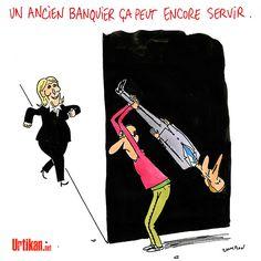 Les électeurs derrière et Emmanuel Macron devant ! - Dessin de Cambon