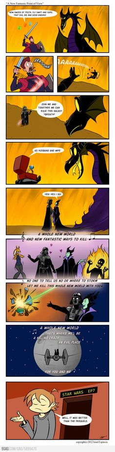Darth Vader and Maleficent - I don't care how over done it is.  I love the Disney/Star Wars jokes!