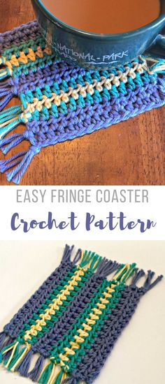 Easy crochet pattern for coaster with fringe - #easycrochetpatterns #beginnercrochetpatterns #crochetcoasterpattern #crochetcoaster #affiliate