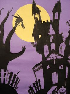 a faithful attempt  - look for Haunted House Silhouette Painting (October 4, 2012).  A great way to transfer drawings that I must remember!