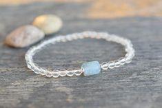 Raw aquamarine bracelet tiny clear quartz bracelet gift for woman Aquamarine Bracelet, Aquamarine Crystal, Clear Quartz Crystal, Crystal Beads, Cord Bracelets, Stretch Bracelets, Gifts For Friends, Gifts For Women, Stretches