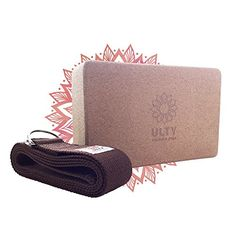 "Cork Yoga Block 9""x6""x4"" and Yoga Strap   Perfect Set for..."