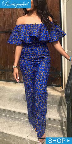 Anziehsachen Print Geometric Fashion Loose Straight Jumpsuit Write Wedding Vows That Sound Natural I African Dresses Plus Size, African Dresses For Kids, Latest African Fashion Dresses, African Dresses For Women, African Print Fashion, African Attire, Fashion Prints, Ankara Fashion, Africa Fashion