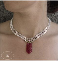 Gorgeous Woven Seed Pearl Necklace with Antique Diamond and Ruby Brooch and Ruby Bead Tassle by Marina J Jewelry