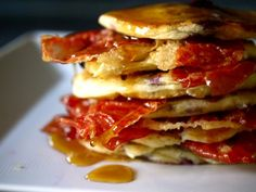 Blueberry pancakes with crisp prosciutto and maple syrup by Lorraine Pascale Blueberry Pancakes, Breakfast Pancakes, Paul Hollywood, Chef Recipes, Cooking Recipes, Pancake Recipes, Prosciutto Recipes, Maple Syrup Ingredients, Deserts