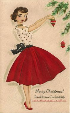 My Vintage Mending: Merry Christmas [love this one! Vintage Christmas Images, Retro Christmas, Vintage Holiday, Vintage Christmas Dress, Christmas Postcards, Christmas Photos, Christmas Girls, Christmas Dresses, Antique Christmas