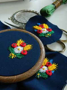 Flower Hand Embroidered Jewelry boho colorfull by MAZUTORIA