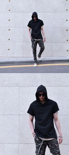 Side Zip Raglan Pullover-Hoodie 185 #남자 #남자후드 #남자스트릿패션 #남자데일리룩 by Guylook.com