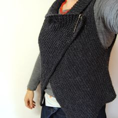 Cuppa & Cake: Simple Knitted Wrap Vest Pattern.  I might be able to handle this.