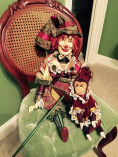 Katherine's Collection Clown/Jester Doll with Monkey and Wind up Music Box