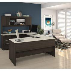 Bestar Ridgeley U Shaped Desk, Dark Chocolate/White Chocolate