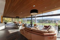Timber clad ceiling of a steel frame and stone self build home Interior Cladding, Interior Windows, Timber Ceiling, Timber Beams, Cedar Cladding, Wall Cladding, Polished Concrete Flooring, Victorian Terrace House, Self Build Houses